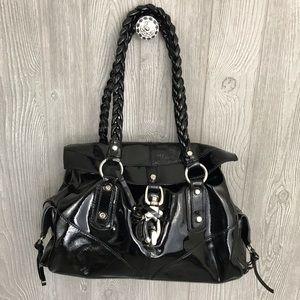Francesco biasia black leather purse silver detail